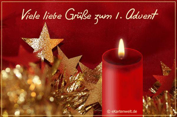 Viele liebe Grüße zum 1. Advent. Animierte neutrale Adventkarte mit Goldsternen und Kerze