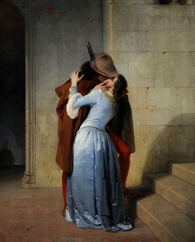 Francesco Hayez, Il bacio, 1859. Olio su tela, 112x88 cm. Milano, Pinacoteca di Brera.