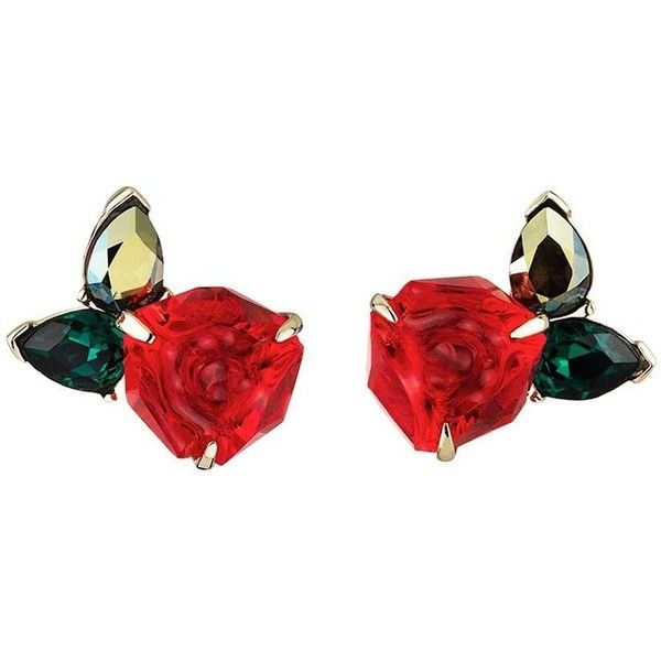 Swarovski Beauty and the Beast Stud Pierced Earrings Duty Free Crystal (£68) ❤ liked on Polyvore featuring jewelry, earrings, red, accessories, flowers, red jewelry, flower earrings, earrings jewellery, studded jewelry and red stud earrings