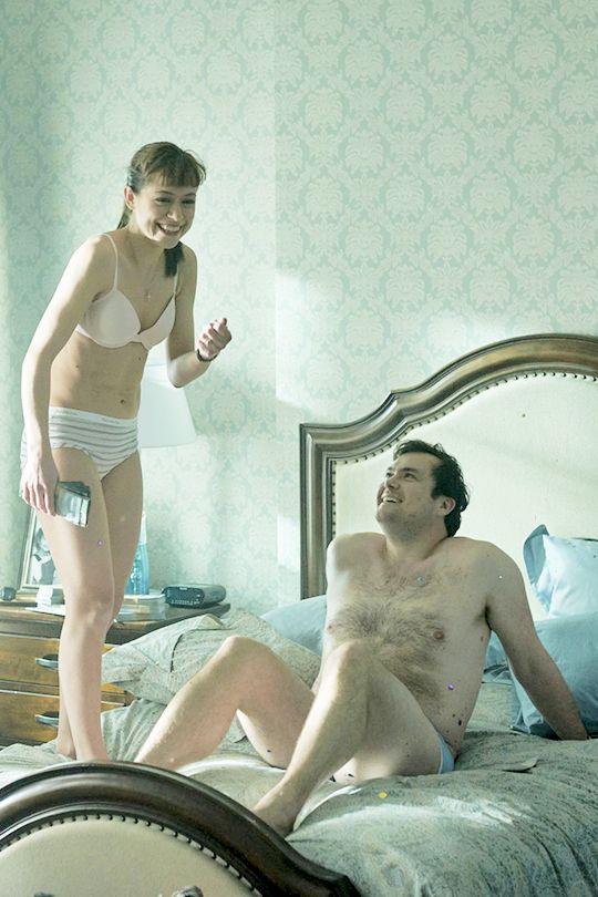 Tatiana Maslany and Kristian Bruun behind the scenes of Orphan Black.