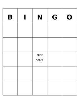 This is a blank, editable BINGO template made in powerpoint.Can add a background, change font, and use for almost any subject or need.Only has 1 slide, but can be copy and pasted to create as many as needed.