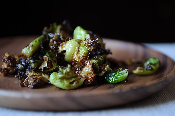 Crispy Fried Brussels Sprouts with Honey and Sriracha-Would probably good roasted too!
