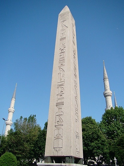 Obelisk of Theodosius in the  Hippodrome in Istanbul. Originally built in Egypt by Tutmoses III 1450 BCE