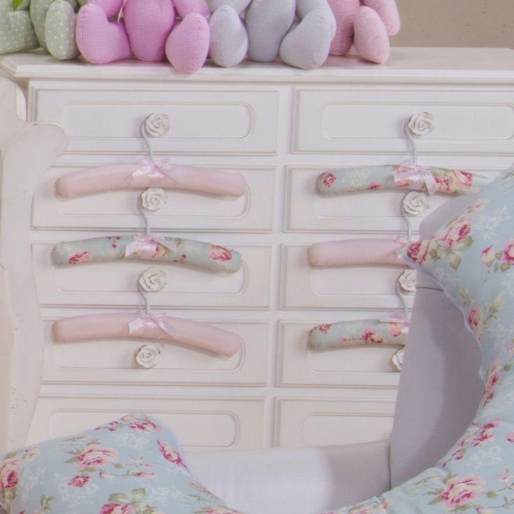 Jogo de Cabide Ursa Realeza Floral 06 Peças - Estampado Bebês Laura Baby Nay Multicoisas | Enxoval | Móveis