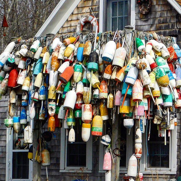 Buoys decorating a porch near Owls Head, Maine.