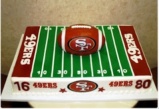 I like this idea, except with a helmet in the middle of the cake and of course not a 49er's cake. :)