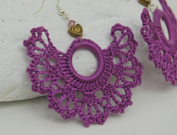 Crochet earrings  Large crochet earrings  Crochet by lindapaula