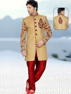 Fabulous Red Banarasi Silk Embroidered Work Wedding  Sherwani #Redbanarasi #Weddingserwani