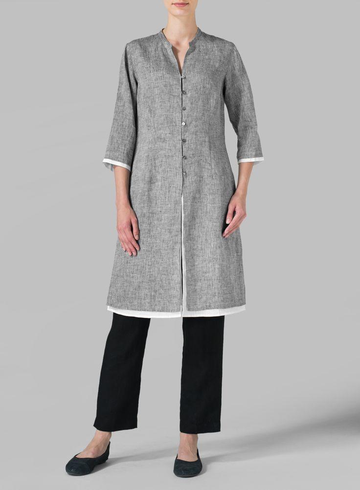 Linen Double Layers Long Top - Plus Size