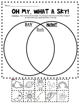 Day and Night Sky Picture Sort (Venn Diagram): Kindergarten Science - Class of Kinders - TeachersPayTeachers.com
