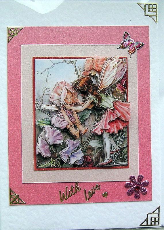 Sweet Pea Fairy HandCrafted 3D Decoupage Card  by SunnyCrystals, £1.85