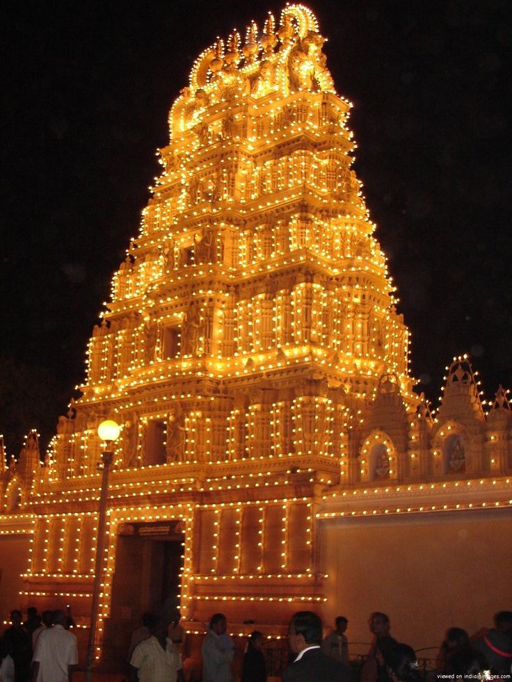 The temple outside the Mysore Palace decorated for Navaratri - Mysore, Karnataka #india #travel #Kamalan #Navaratri #mysore #culture