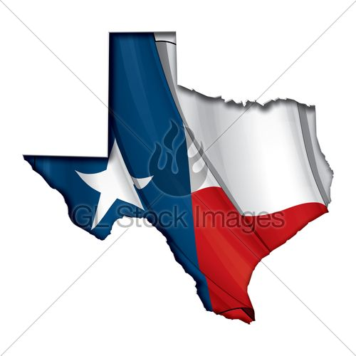 Texas Map Cut Out, Highly Detailed On The Edge'...