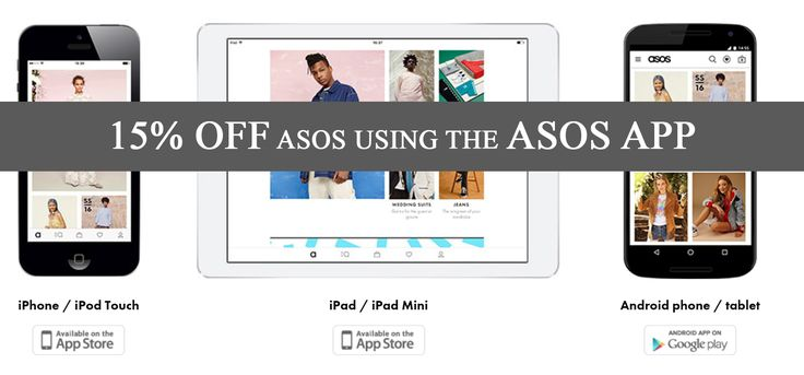 15% off ASOS purchases via the ASOS app. Enter code APP15 when shopping on their mobile applications and save 15%. Valid for selected European countries.