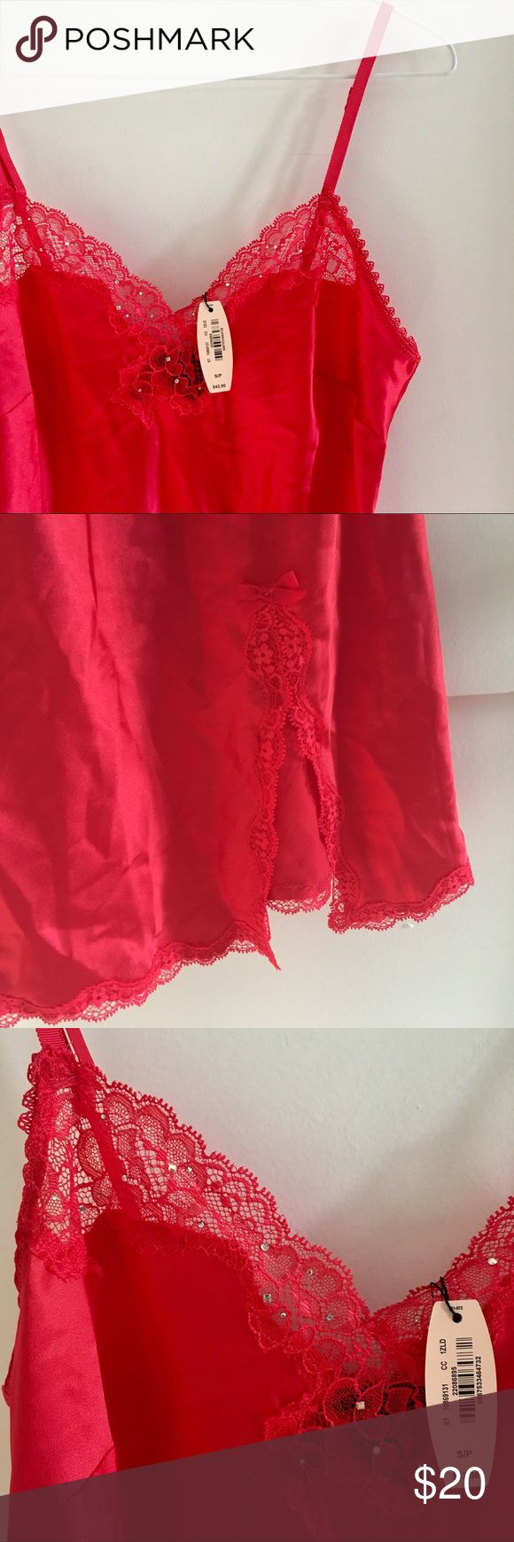 ❣️🆕Victoria's secret red silky smooth nightie! NWT Victoria's Secret red lacy nightie. Silky smooth with lace details and a petite slit up the thigh. 100% polyester Victoria's Secret Intimates & Sleepwear Chemises & Slips