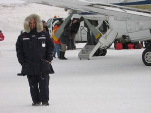 Propair pilot in the Canadian Arctic wearing the Vostok parka
