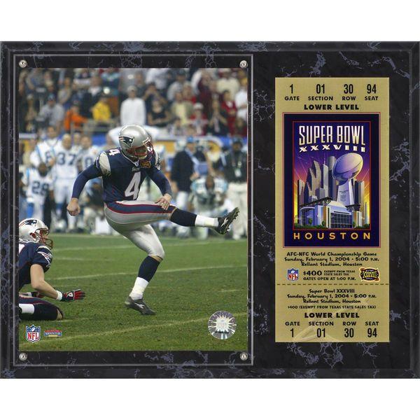 "Adam Vinatieri New England Patriots Fanatics Authentic 12"" x 15"" Super Bowl XXXVIII Sublimated Plaque with Replica Ticket - $39.99"