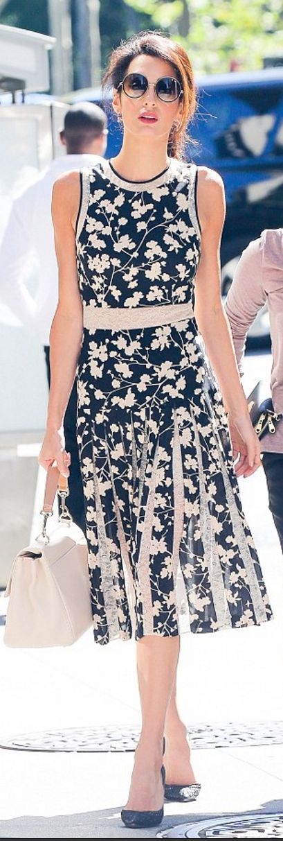 Amal Clooney: Dress – Michael Kors Purse – Carolina Herrera Shoes – Dolce &  Gabbana