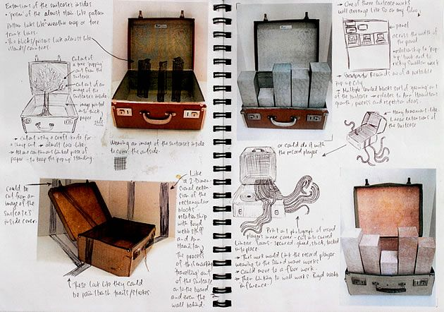This sketchbook page is part of a New Zealand high school Sculpture project that achieved Excellence and Scholarship. The comprehensive submission explores ideas related to typewriters and old and new technologies. As with some of the pages above, pen has been used to draw over photographs, adding detail and trialing further ideas.