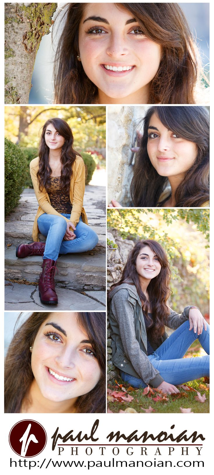 Senior pictures pose ideas for girls with the fall sunlight sitting on stone steps and leaning against a stone wall - Best Detroit Photographers - Warren Mott Senior Pictures