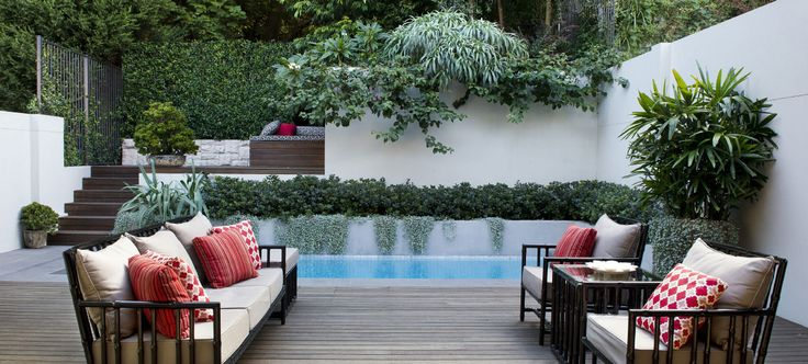 ALBOO | FOXY | ARMCHAIRS AND TALL SIDE TABLE | CUSTOM POWDERCOAT | Outdoor space designed by the talented team at GoodManors Pools + Gardens Sydney