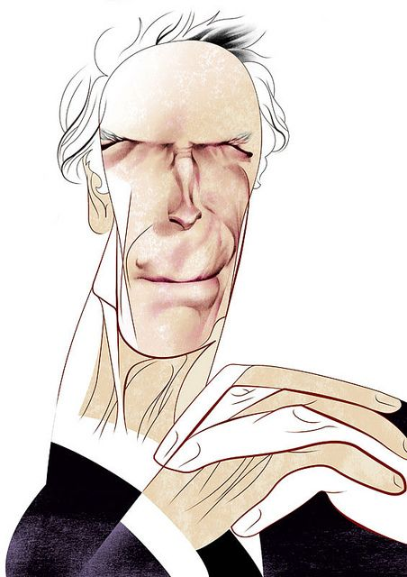 Clint Eastwood by Andre Carrilho, caricature cartoon portrait drawing face stylized