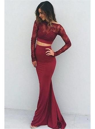 Charming Two Pieces Prom Dress,Burgundy Prom Dress,Two Pieces Prom Dress,Prom Gowns for Teens,Prom Party Dresses,Lace Evening Dress