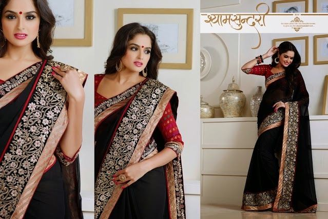 Superb Designer Party wear Black Georgette Chiffon Saree with Pallu and Contrast matching Banarasi Brocade Blouse. Heavy work en-crafted all over.