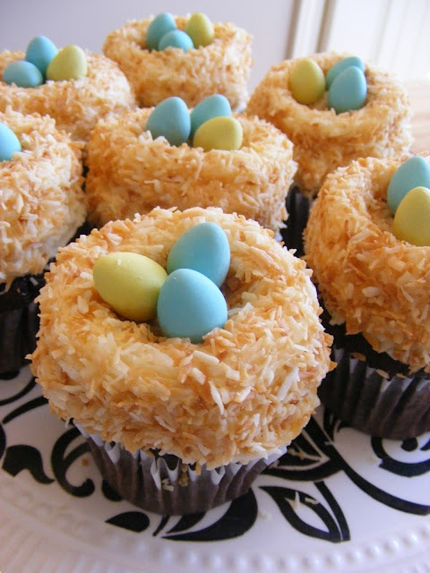 Easter Egg coconut cupcakes - can't wait to make for kiddos!!
