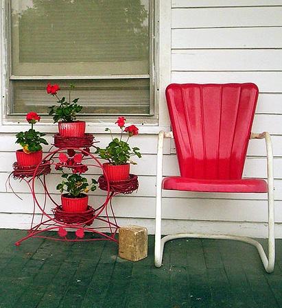 Fun vintage porch furniture in red.