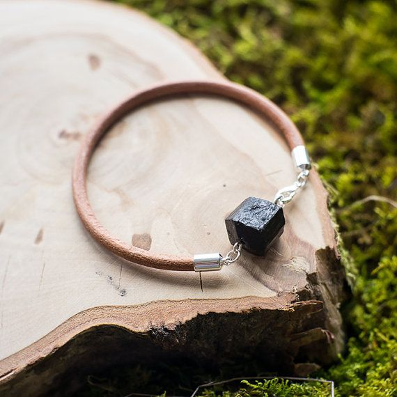 Leather sherl bracelet / natural black tourmaline by MyROCKandSOUL