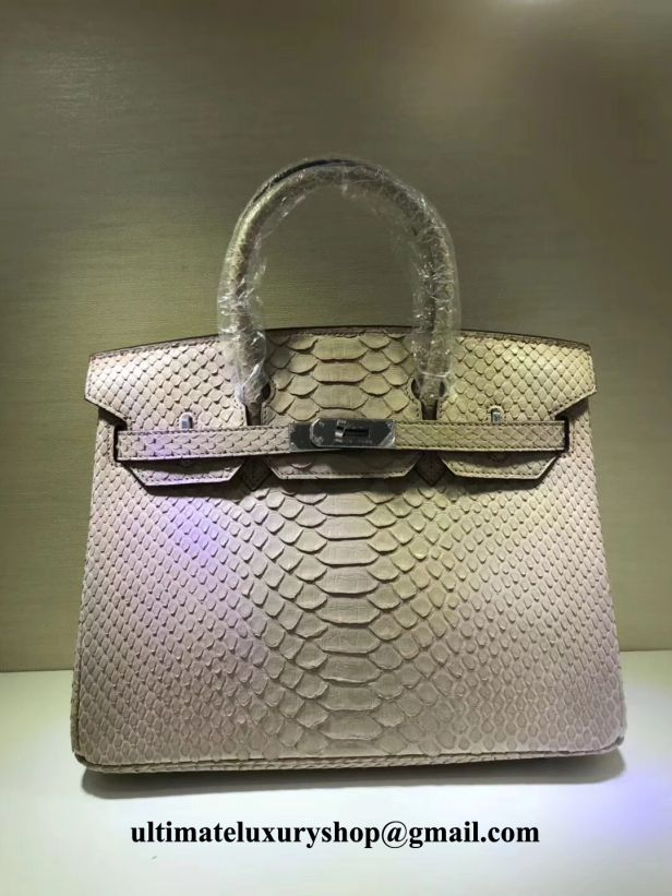 61f341a06545 Authentic Quality Perfect 1 1 Mirror Replica Hermes Birkin Ivory Snake Skin  Silver Hardware