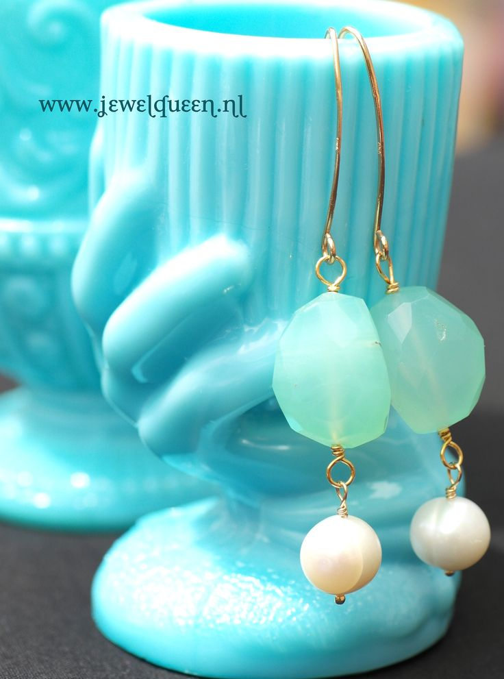 WWW.JEWELQUEEN.NL 14K/925 ZILVER CALCEDOON EN PAREL OORBELLEN, PEARL EARRINGS AND CALCEDONY