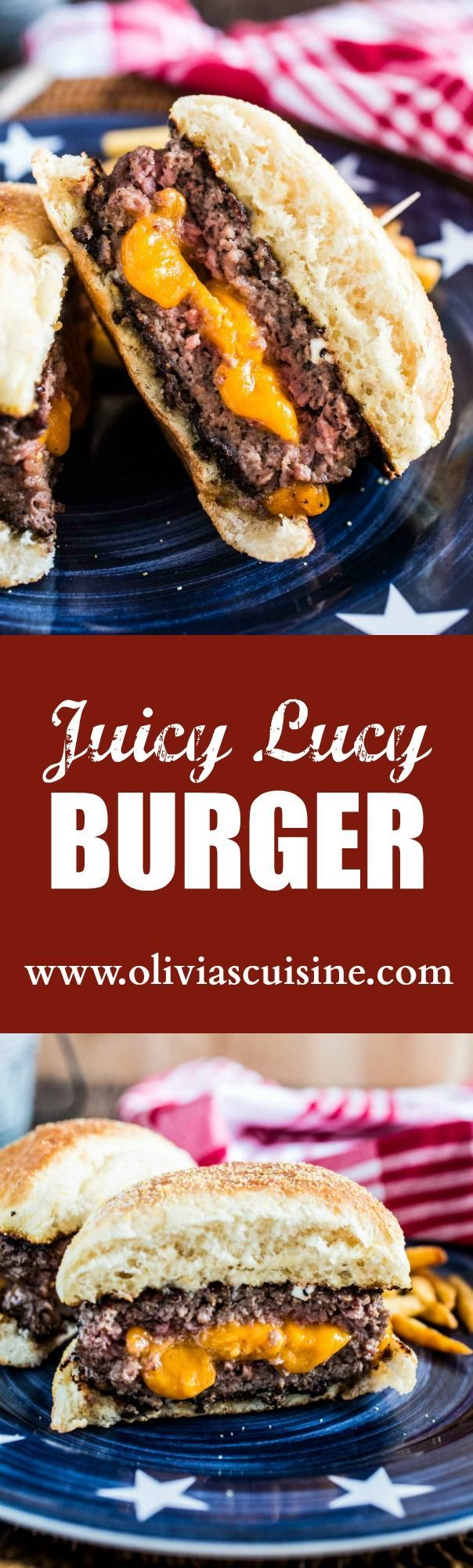 Juicy Lucy Burger | http://www.oliviascuisine.com | An iconic Minneapolis burger, stuffed with lots of cheese!