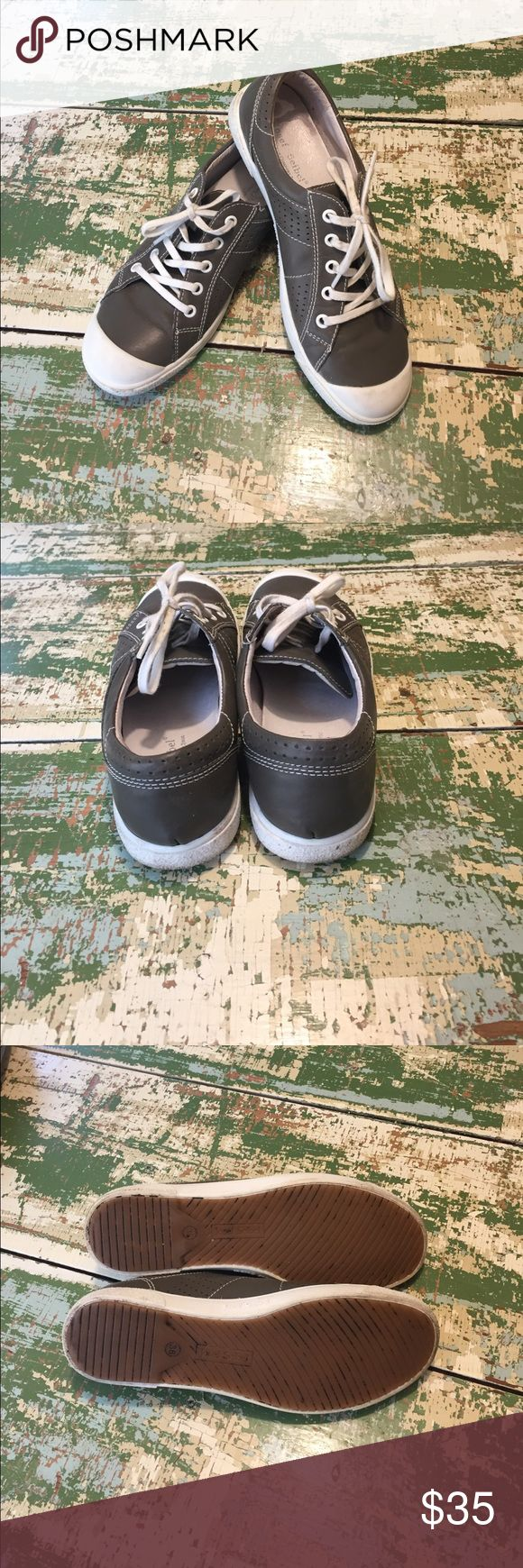 Josef Seibel leather tennis shoes Josef Seibel leather tennis shoes. Cute gray color...super insole and construction. Lightly used -- super clean! Josef Seibel Shoes Sneakers
