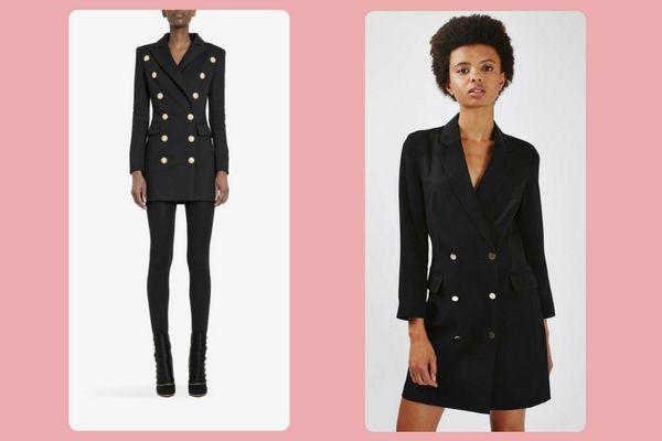 Balmain Stretch cotton-piqué double-breasted mini dress (€2400) vs. Topshop '80s Double Breasted Blazer (£65)