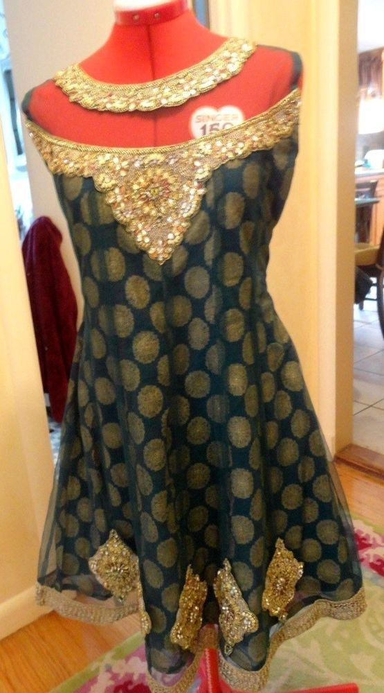 AMAZING INDIA MADE GOLD PATCH MEDALLIAN 3 LINED GREEN FORMAL DRESS-SIZE S #Unbranded #Sheath #Cocktail
