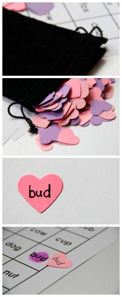 Short Vowel Word Bingo - Valentine's Day Activity for Kids