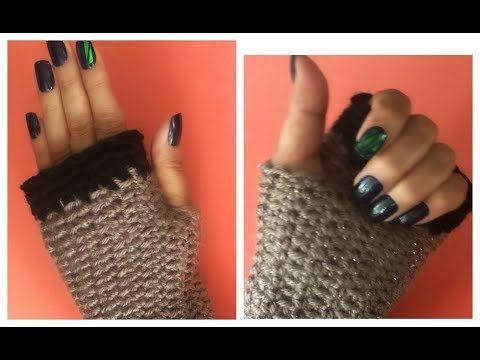 Guantes Sin Dedos o Mitones Tejidos A Crochet (Nivel Principiantes) Crochet Fingerless Mitten Gloves - YouTube