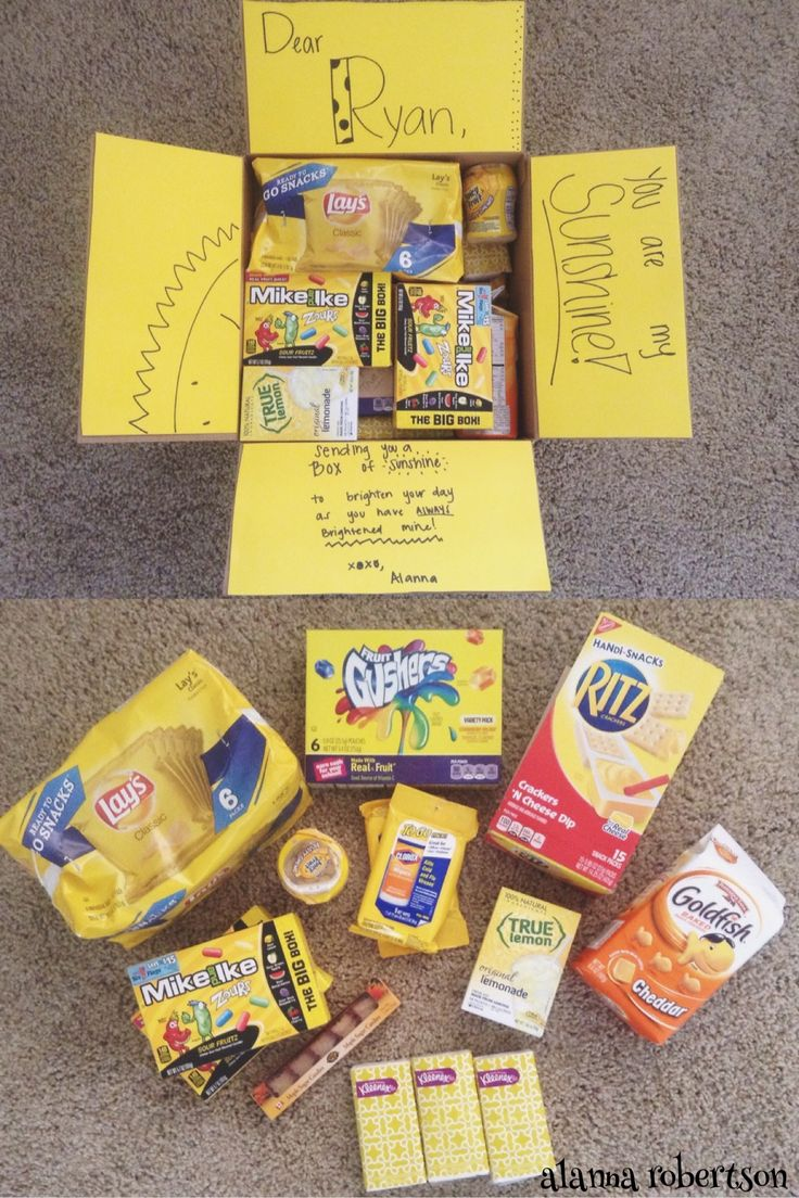 Box of sunshine care package! Yellow themed care package, great for military care packages, college care packages, missionary care packages, ect. For this theme, everything inside was yellow/orange. Inside, I put Lays potato chips, Gushers, Ritz crackers, Zours (his favorite candy), hand wipes, gun, lemonade packets, tissues, Canadian maple candy, and Goldfish. :)