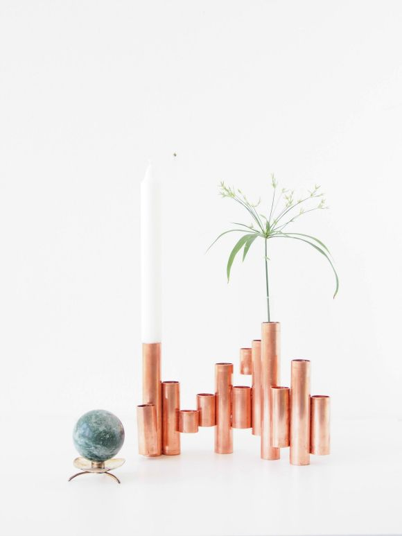 DIY How-To Instructions: Copper tube vases/candleholders (simple to do with one tool, copper tubing and E6000 glue)