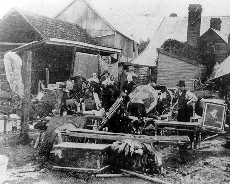Wrecked furniture from a Longford house - 1929 Flood