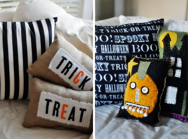 Cute pillows: Holiday Ideas, Decor Ideas, Holiday Pillows, Fall Ideas, Cute Ideas, Pink Pistachio, Trick Or Treat, Treat Pillows, Halloween Ideas