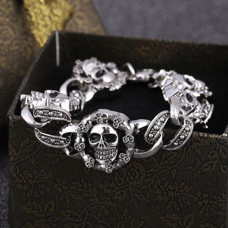 Punk Skull Stainless Steel Bracelet Unisex Bangle //Price: $8.99 & FREE Shipping //     #skull #skullinspiration #skullobsession #skulls