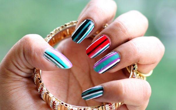полосатые ногти, дизайн ногтей, нейл арт, маникюр
