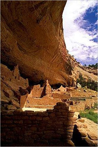 In the 1200s, the Anasazi built dwellings into the side of the mesa, including this one known as the Cliff Palace...was probably an important administrative and ceremonial site. Its 150 rooms were home to about 100 people. Most of the cliff dwellings at Mesa Verde were far smaller...three-quarters of them had just one to five rooms. The buildings were made of sandstone, mortar and wood. Photo: Andrew Niesen/Aurora
