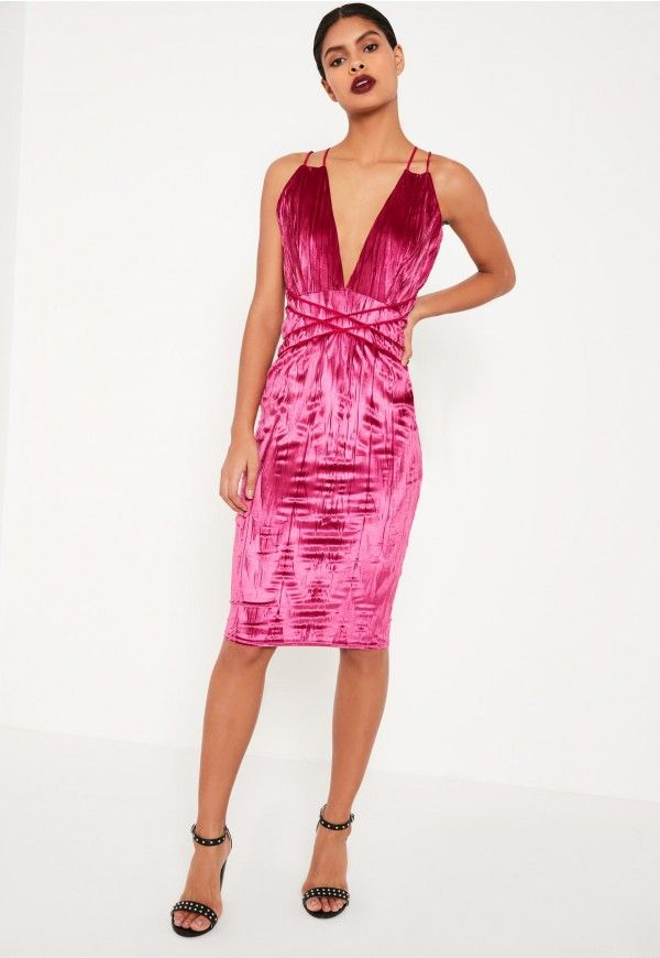 Pleats, please! Raise the temps in this hot pink midi dress with cross back straps and a velvet finish. Misguided us.co.