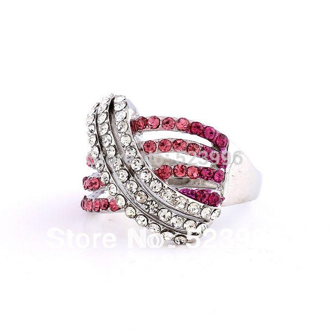 Brand New Оптовая Моды Белый Позолоченный Крест Кольцо С Кристаллами Стразы Обручальные Кольца Ювелирные Изделия J01054