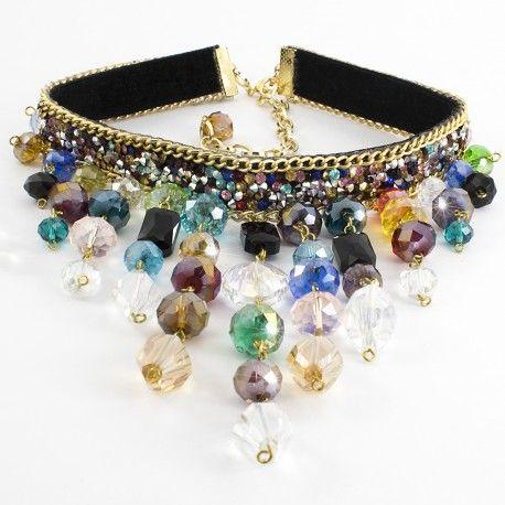 Collares Maxicollares Gargantilla Choker Necklace Cristales facetados de colores Chapa de oro Lindas Joyas Bisuteria de moda
