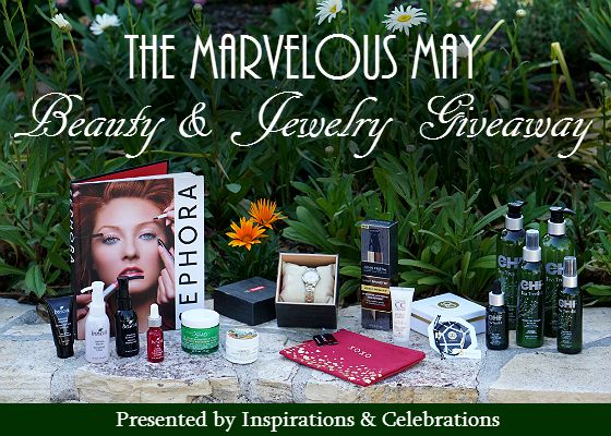 """Win a deluxe $350 prize package by entering """"The Marvelous May Beauty & Jewelry Giveaway"""" from Inspirations & Celebrations!"""